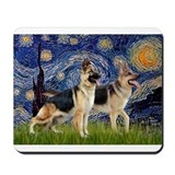 Starry / 2 German Shepherds Mousepad