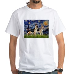 Starry / 2 German Shepherds White T-Shirt