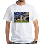 Starry / 2 German Shepherds White T-Shirt