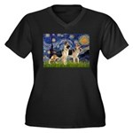 Starry / 2 German Shepherds Women's Plus Size V-Ne
