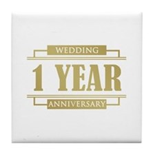 Stylish 1st Wedding Anniversary Tile Coaster