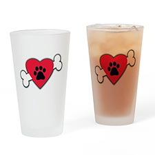 Heart Paw Print Bone Drinking Glass