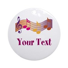 Personalized Music Staff Gift Ornament (Round)