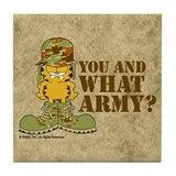 Army Garfield Tile Coaster