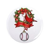 "Baseball Christmas Wreath 3.5"" Button"