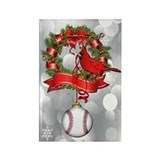 Baseball Christmas Wreath Rectangle Magnet