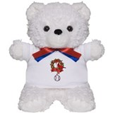 Baseball Christmas Wreath Teddy Bear