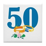 50th Anniversary w/ Wedding Rings Tile Coaster