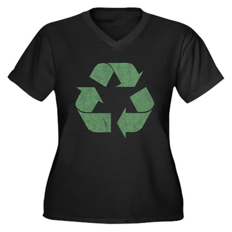 Vintage Recycle Logo Womens Plus Size V-Neck Dark