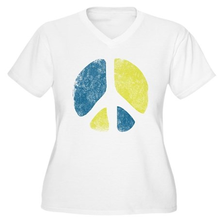 Vintage Peace Sign Womens Plus Size V-Neck T-Shir
