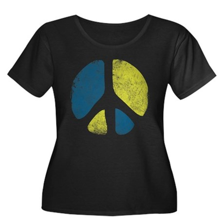 Vintage Peace Sign Womens Plus Size Scoop Neck Da