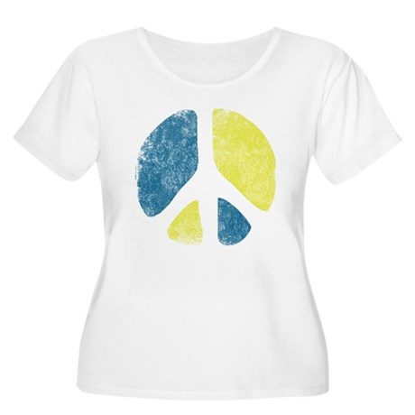 Vintage Peace Sign Womens Plus Size Scoop Neck T-