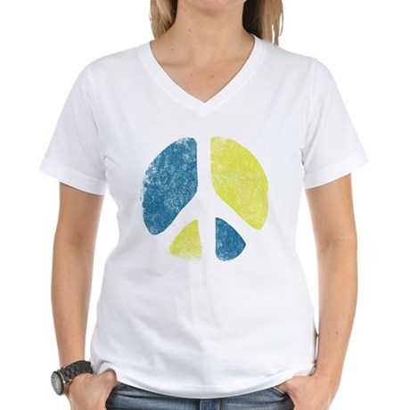 Vintage Peace Sign Womens V-Neck T-Shirt