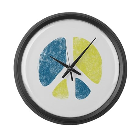 Vintage Peace Sign Large Wall Clock