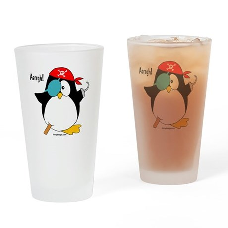 Pirate Penguin Drinking Glass
