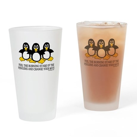 Burning Stare Penguins Drinking Glass