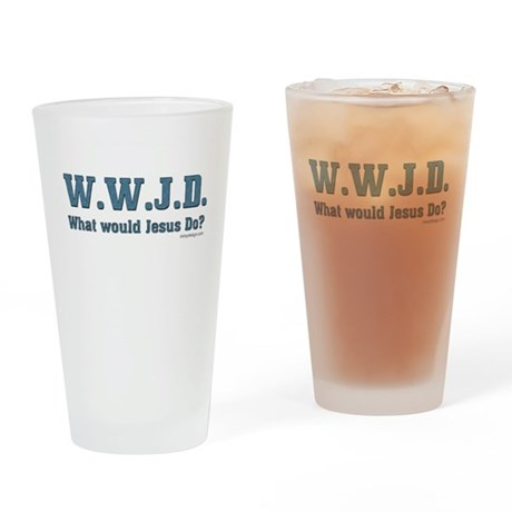 WWJD - Christian Drinking Glass