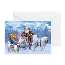 Great Pyrenees Santa Greeting Cards (pk Of 20)