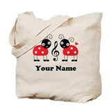 Personalized Music Ladybug Tote Bag