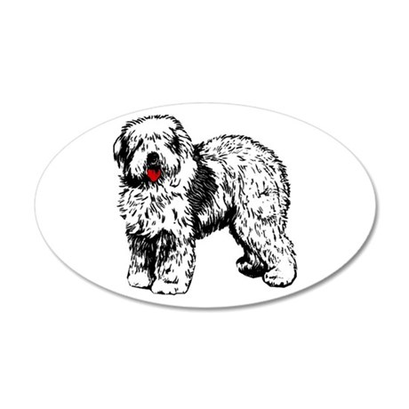 Old English Sheepdog 22x14 Oval Wall Peel