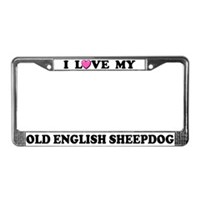 Old English Sheepdog License Plate Frames