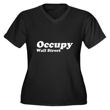 Occupy Wall Street Womens Plus Size V-Neck Dark T