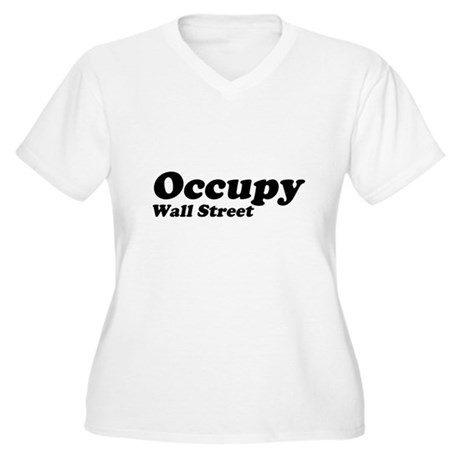 Occupy Wall Street Womens Plus Size V-Neck T-Shir