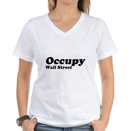 Occupy Wall Street Womens V-Neck T-Shirt