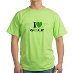 I Love Golf Green T-Shirt