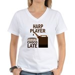 Harp Player Powered By Donuts Women's V-Neck T-Shi