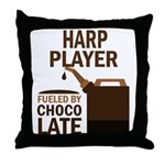 Harp Player Powered By Donuts Throw Pillow