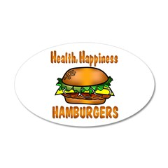 Hamburger Happiness 38.5 x 24.5 Oval Wall Peel