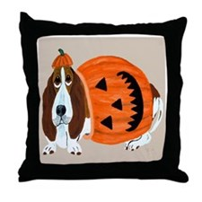 Basset Hound In Pumpkin Suit Throw Pillow