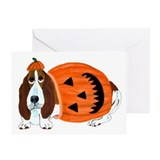 Basset Hound In Pumpkin Suit Greeting Card