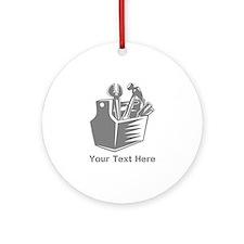 Tool box. Custom Text. Ornament (Round)