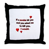 Zombie Bite Love Throw Pillow