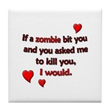 Zombie Bite Love Tile Coaster