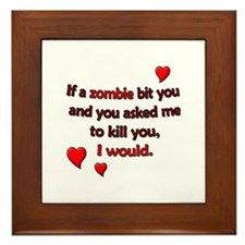 Zombie Bite Love - Framed Tile