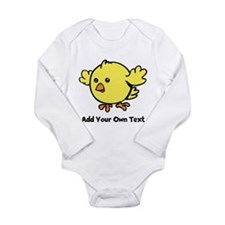 Cute Chick. Black Text Long Sleeve Infant Bodysuit