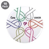 "Cancer KILLS - Awareness CURES 3.5"" Button (10 pac"