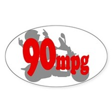 90mpg Red Oval Decal