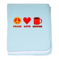Peace Love Coffee baby blanket