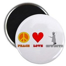 "Peace Love Cowboys 2.25"" Magnet (10 pack)"