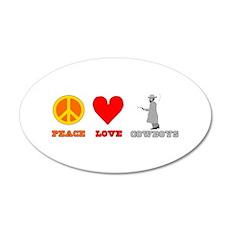 Peace Love Cowboys 38.5 x 24.5 Oval Wall Peel
