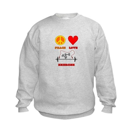 Peace Love Exercise Kids Sweatshirt