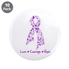 "Butterfly Alzheimers Ribbon 3.5"" Button (10 pack)"