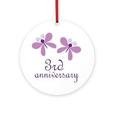 3rd Anniversary (Wedding) Ornament (Round)