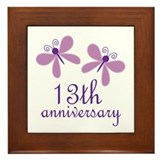 13th Anniversary (Wedding) Framed Tile
