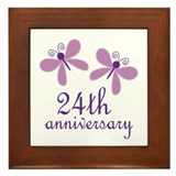24th Anniversary (Wedding) Framed Tile