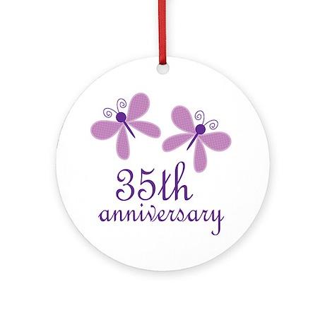 35th Anniversary Wedding Ornament Round By Anniversarytshirts